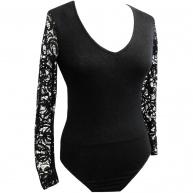 Runners . - T3195 - BLK - LDS Knit Body Suite W Lace