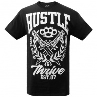 Black t-shirt Hustle & Thrive for men