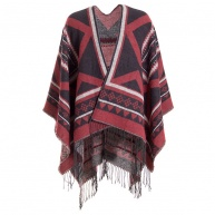 Red poncho for women