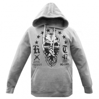 Grey hoodie Hustle & Thrive for men