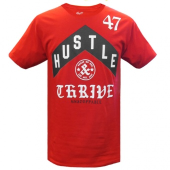 Red t-shirt Hustle & Thrive for men